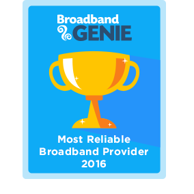 Most Reliable broadband provider 2016 award - Virgin Media