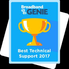 Best Technical Support 2017 award - Plusnet