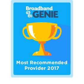 Most Recommended provider 2017 award - Plusnet