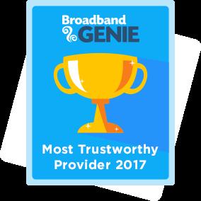Most Trustworthy provider 2017 award - Plusnet