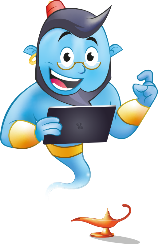 Genie with tablet