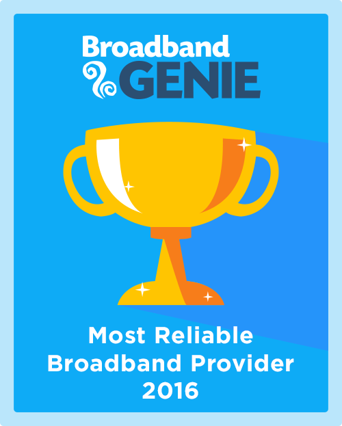 Most Reliable Broadband Provider 2016 graphic