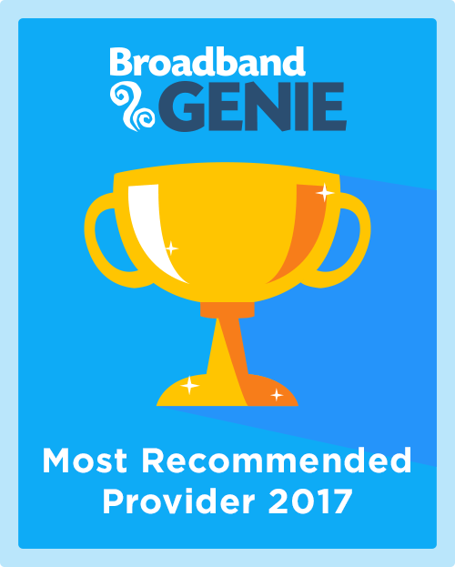 Most Recommended Broadband Provider 2017 graphic
