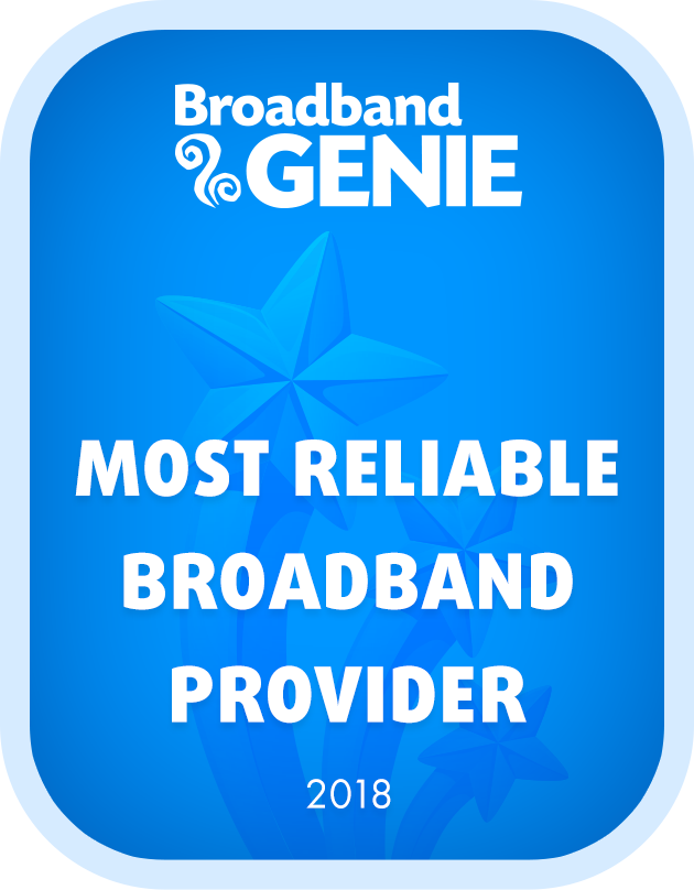 Most Reliable Broadband Provider 2018 graphic